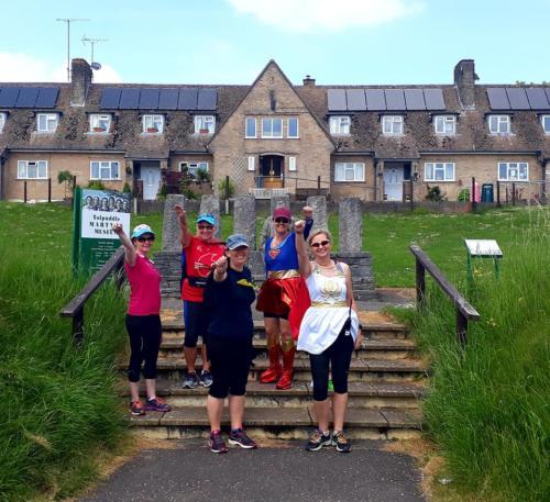 Dorset Sole Sisters superheroes feed station mile 17 Dorchester Marathon 2018